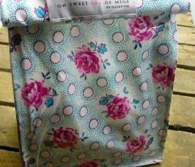 Oilcloth Lunch Bag - Flowers on blue with Pink Spots